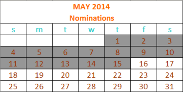 2014 Nominations calendar updated