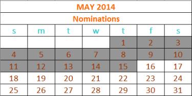 2014 Nominations calendar updated